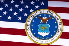 Abteilung der Luftwaffe und der US-Flagge Lizenzfreies Stockfoto
