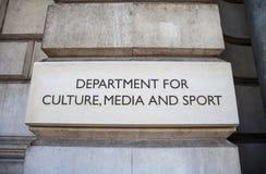 Abteilung für Kultur, Medien und Sport in London Stockbild