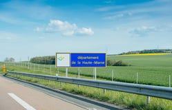 Abteilungsde-La Haute-Marne-Landstraßenzeichen Lizenzfreie Stockbilder