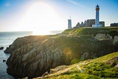 Abteiruine und Leuchtturm, Pointe de Heilig-Mathieu, Bretagne, Frankreich Lizenzfreie Stockbilder