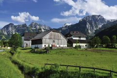 Abtenau. The mountain scenery under Tennengebirge mountains in the village Abtenau - Austria Stock Image