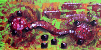 Abtract Expressionist Painting. Colorful, bright abstract painting. Two virtual tongues collide, the black squares could represent telephone keys symbolising Royalty Free Stock Photography
