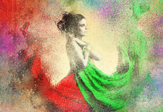 Abtract Lady in Splatter Background. Abtract Brush Lady in Splatter Background Stock Photo