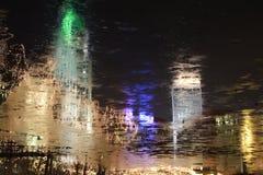 Abtract Reflexionen, Gebäude und Leuchten Stockbild
