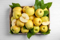 Abtropfbrett mit reifen gelben Äpfeln Stockfotos
