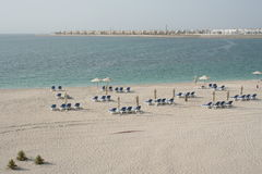 abu海滩dhabi阿拉伯联合酋长国 免版税库存照片