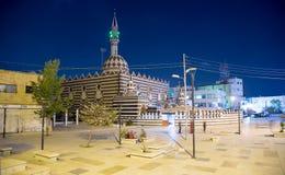 Abu Darweesh Mosque Amman (la nuit), Jordanie Images stock