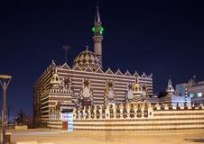 Abu Darweesh Mosque Amman (la nuit), Jordanie Photographie stock