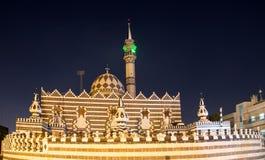 Abu Darweesh Mosque Amman (la nuit), Jordanie Photos stock