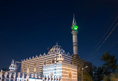 Abu Darweesh Mosque Amman (at night), Jordan. Was built in 1961 by the Circassian community which came to settle in Amman Stock Photo