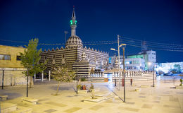 Abu Darweesh Mosque Amman (at night), Jordan. Was built in 1961 by the Circassian community which came to settle in Amman Stock Images
