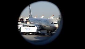 Abu Dhabi Airport - Ansicht vom Fenster Stockfotos