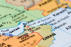Abu Dhabi auf einer Karte Stockfoto