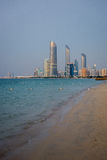 Abu Dhabi beach and skyline Royalty Free Stock Photography