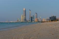 Abu Dhabi beach and skyline Stock Image