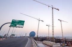 Abu Dhabi-bouw op yaseiland Stock Foto's