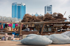Abu Dhabi buildings skyline with old fishing boats Stock Photography