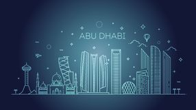 Abu Dhabi city line art Vector illustration with all famous buildings. Cityscape. Line Art Vector Illustration of Modern Abu Dhabi City with Skyscrapers. Flat royalty free illustration