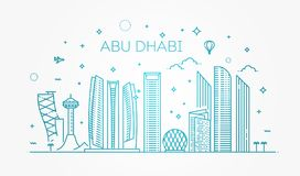 Abu Dhabi city line art Vector illustration with all famous buildings. Cityscape. Line Art Vector Illustration of Modern Abu Dhabi City with Skyscrapers. Flat vector illustration