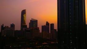 Abu Dhabi city magical orange sunset in 4K. UAE stock video