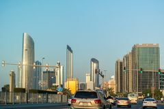 Abu Dhabi city skyline, beautiful view of the city from the corniche street at rush hour royalty free stock image