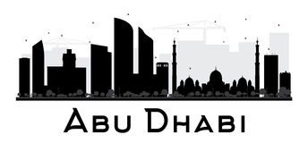 Abu Dhabi City skyline black and white silhouette. Royalty Free Stock Photo