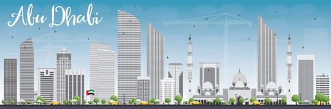 Abu Dhabi City Skyline con Gray Buildings e cielo blu Fotografia Stock