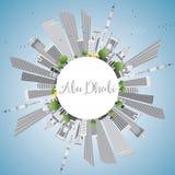 Abu Dhabi City Skyline con lo spazio della copia e di Gray Buildings Fotografia Stock