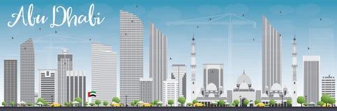 Abu Dhabi City Skyline with Gray Buildings and Blue Sky. Stock Photo