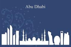 Abu Dhabi city skyline silhouette on blue background Royalty Free Stock Photos