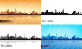 Abu Dhabi city skyline silhouette set Royalty Free Stock Photography