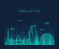 Abu Dhabi City skyline Trendy vector line art Stock Image