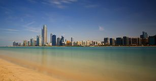 Abu Dhabi city skyline, UAE royalty free stock image