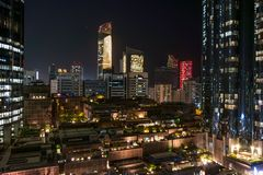 Abu Dhabi city towers and skyline at night - World trade center and the mall.  Stock Image