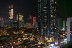 Abu Dhabi city towers and skyline at night - World trade center and the mall.  Royalty Free Stock Photography