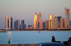 Abu Dhabi cityline at sunset Royalty Free Stock Photography