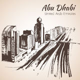Abu Dhabi cityscape sketch - UAE. Royalty Free Stock Images