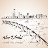 Abu Dhabi cityscape skissar - UAE Arkivbilder