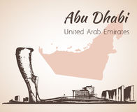 Abu Dhabi cityscape skissar - UAE Arkivbild