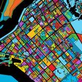 Abu Dhabi Colorful Vector Map sul nero royalty illustrazione gratis