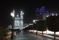 Abu Dhabi corniche at night Royalty Free Stock Image