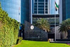 Abu Dhabi, de V.A.E - 30 Maart 2019 ingang aan Etihad-Torens - complex van wolkenkrabbers met woonflats, bureaus en hotel royalty-vrije stock foto
