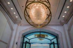 Abu Dhabi De zomer van 2016 Helder en modern binnenlands luxehotel St Regis Saadiyat Island Resort Royalty-vrije Stock Fotografie