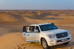 Abu Dhabi - December 25: Driving on jeeps on the desert, traditi Stock Images