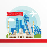 Abu Dhabi detailed silhouette. Trendy vector illustration, flat style. Stylish colorful landmarks. Royalty Free Stock Photos