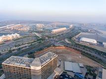 ABU DHABI - DEZEMBER 2016: Panoramische Vogelperspektive von Yas-Insel s Lizenzfreies Stockfoto