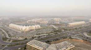 ABU DHABI - DEZEMBER 2016: Panoramische Vogelperspektive Yas-Insel Yas Stockbilder