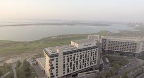 ABU DHABI - DEZEMBER 2016: Panoramische Vogelperspektive Yas-Insel Yas Lizenzfreie Stockfotografie