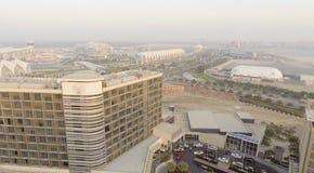 ABU DHABI - DEZEMBER 2016: Vogelperspektive von Yas-Insel Abu Dhabi Lizenzfreie Stockfotos