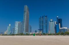 Abu Dhabi: eine Ansicht vom Dach stockbild